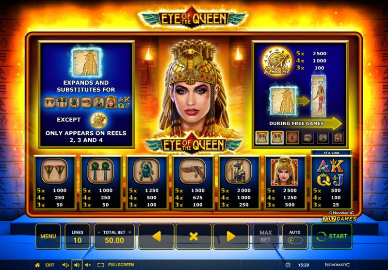 Eye of the Queen :: Paytable