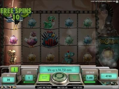 here is an example of a wild egg triggering ten free spins