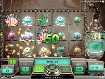 Slots Magic featuring the Video Slots EggOMatic with a maximum payout of $10,000