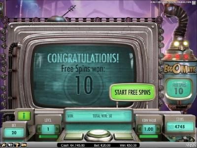 free spins bonus feature starts