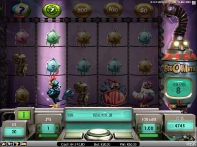 Wixstars featuring the Video Slots EggOMatic with a maximum payout of $10,000