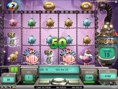 two wilds lead to a 50 coin jackpot and an addition 7 free spins