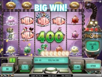 spreading wild feature triggers a 400 coin big win jackpot