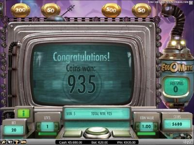 Northern Lights featuring the Video Slots EggOMatic with a maximum payout of $10,000