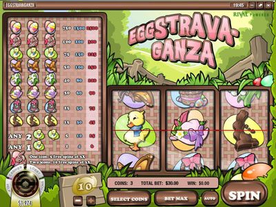 Break Away featuring the Video Slots Eggstrava-Ganza with a maximum payout of $75,000