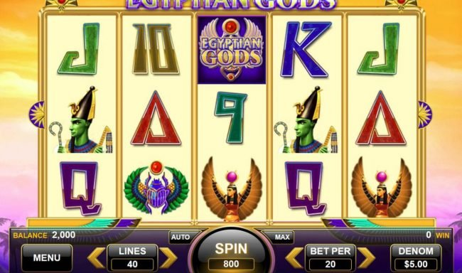 Egyptian Gods :: Main game board featuring five reels and 40 paylines with a $100,000 max payout.