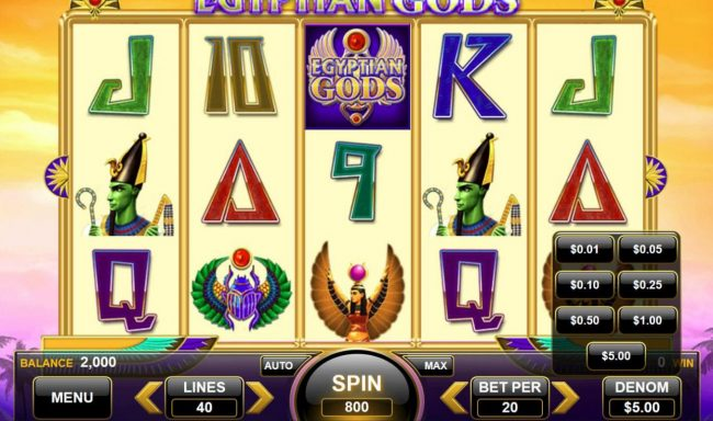 Egyptian Gods :: Click the BET button to adjust the stake level