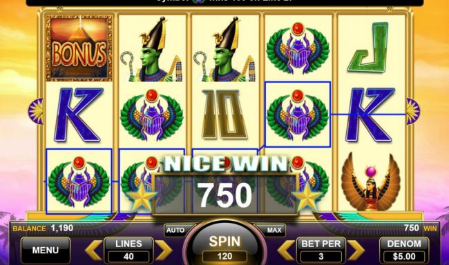 Egyptian Gods :: Multiple winning paylines triggers a 750 coin big win!
