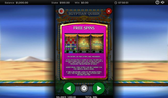 Egyptian Queen :: Free Spins Rules