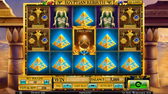 Superior featuring the Video Slots Egyptian Rebirth with a maximum payout of $100,000