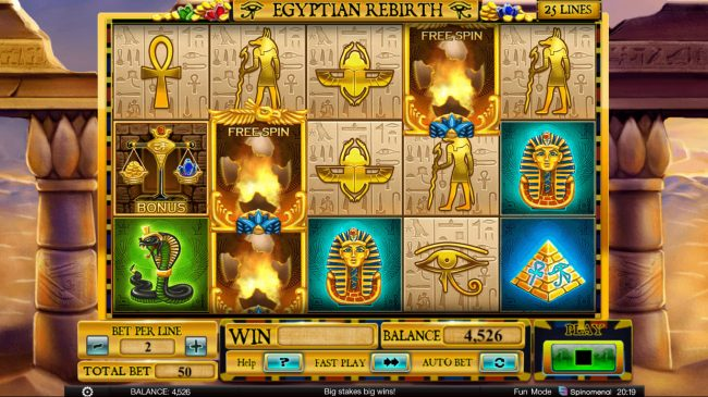 X-Bet featuring the Video Slots Egyptian Rebirth with a maximum payout of $100,000