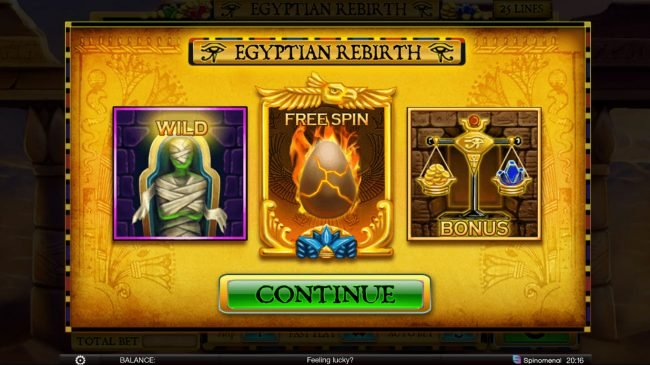 Play slots at CoCoa: CoCoa featuring the Video Slots Egyptian Rebirth with a maximum payout of $100,000