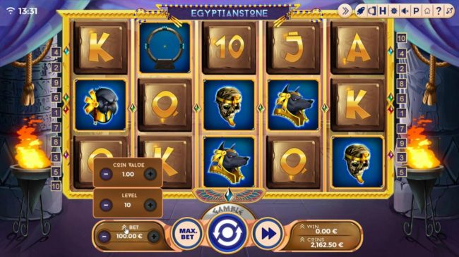 Egyptian Stone :: Click the BET button to adjust the stake level