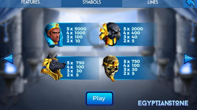 Egyptian Stone :: Low value game symbols paytable