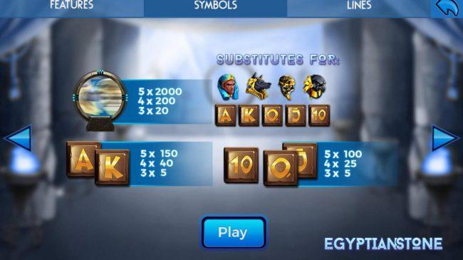 Egyptian Stone :: Wild Symbol Rules