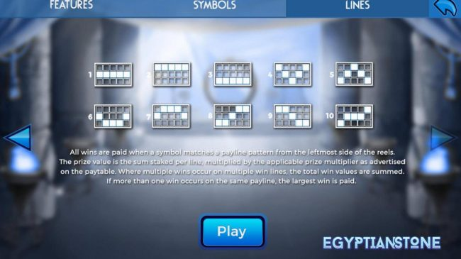 Egyptian Stone :: Paylines 1-10