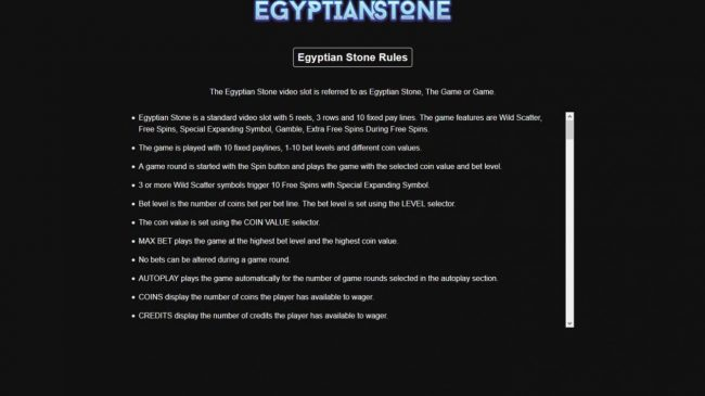Egyptian Stone :: General Game Rules