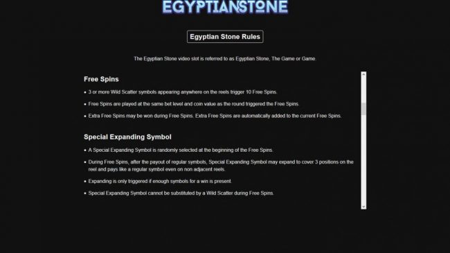 Egyptian Stone :: Free Spins Rules