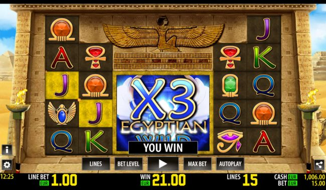 Bonanza featuring the Video Slots Egyptian Wild with a maximum payout of $15,000