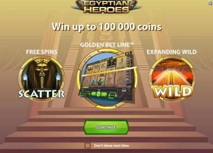 Secret Slots featuring the Video Slots Egyptian Heroes with a maximum payout of $20,000