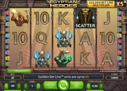 Egyptian Heroes :: main game board featuring five reels, twenty paylines and a chance to win up to 100000 coins