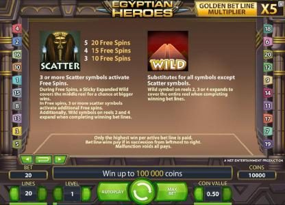 LaFiesta featuring the Video Slots Egyptian Heroes with a maximum payout of $20,000