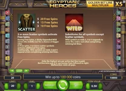 Free Spins featuring the Video Slots Egyptian Heroes with a maximum payout of $20,000