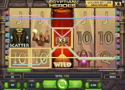 Egyptian Heroes :: expanding wild with a x3 multiplier triggers a 108 coin jackpot