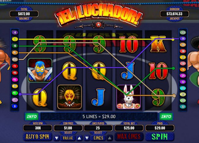 Plenty Jackpots featuring the Video Slots El Luchador with a maximum payout of $7,500
