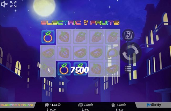 Lord of the Spins featuring the Video Slots Electric 7 Fruits with a maximum payout of $200,000