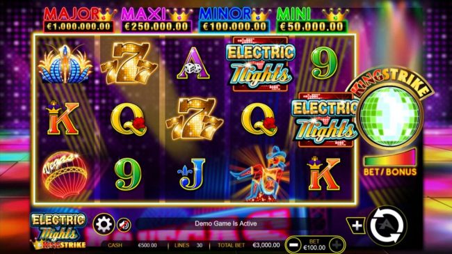 Red Queen featuring the Video Slots Electric Nights King Strike with a maximum payout of $300,000