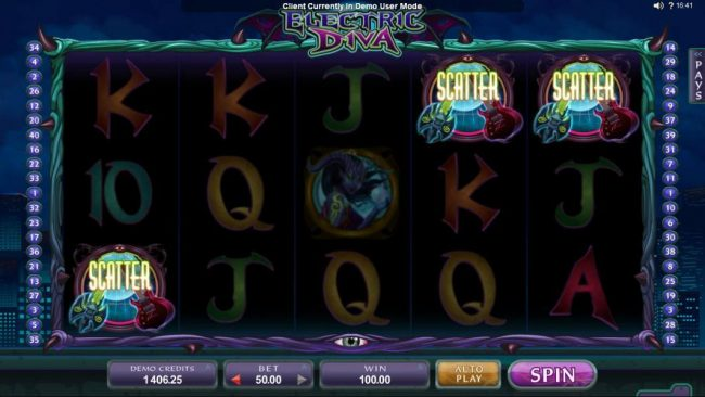 Three scatter symbols triggers a winning payout.