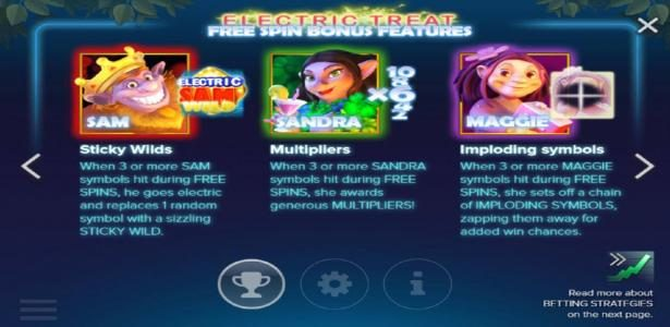 Electric SAM :: Free Spins Bonus Features - Sticky Wilds, Multipliers and Imploding Symbols