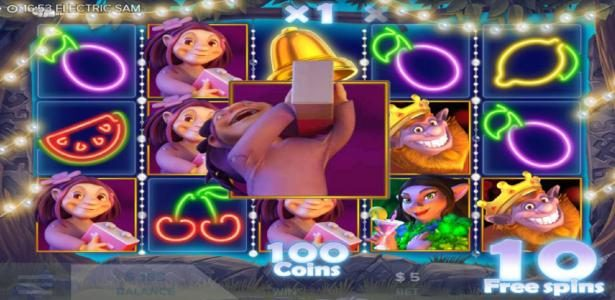 Electric SAM :: Maggie symbols triggers imploding symbols feature during free spins.