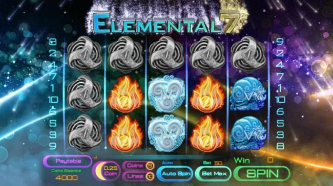 Lake Palace featuring the Video Slots Elemental 7 with a maximum payout of $3,125