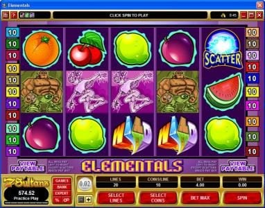 Play slots at Casino Room: Casino Room featuring the Video Slots Elementals with a maximum payout of $25,000
