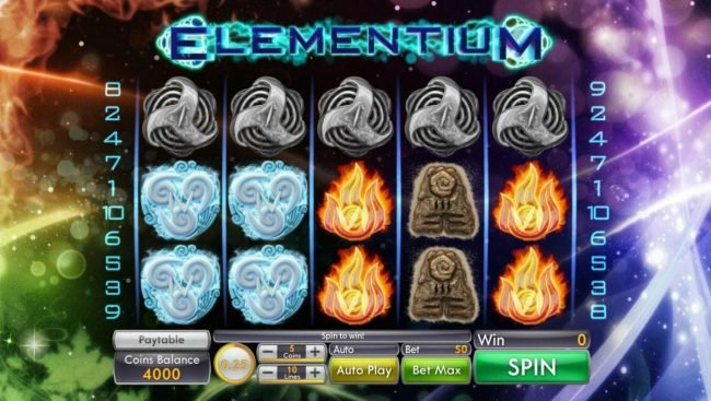 Jumba Bet featuring the Video Slots Elementium with a maximum payout of $3,125