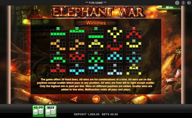 Play slots at Spinland: Spinland featuring the Video Slots Elephant War with a maximum payout of $50,000