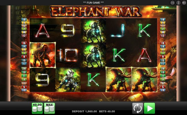 Play slots at DruckGluck: DruckGluck featuring the Video Slots Elephant War with a maximum payout of $50,000