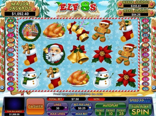 A Christmas holiday themed main game board featuring five reels and 30 paylines with a progressive jackpot max payout