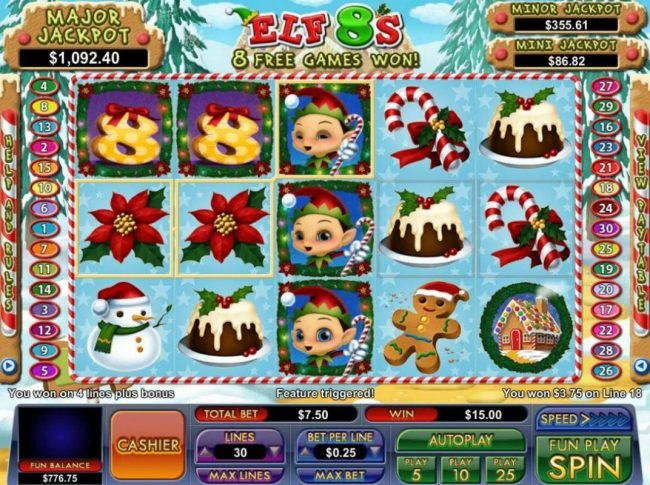 BuzzLuck featuring the Video Slots Elf 8's with a maximum payout of Jackpot