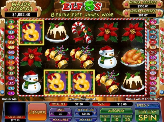 Slot Madness featuring the Video Slots Elf 8's with a maximum payout of Jackpot