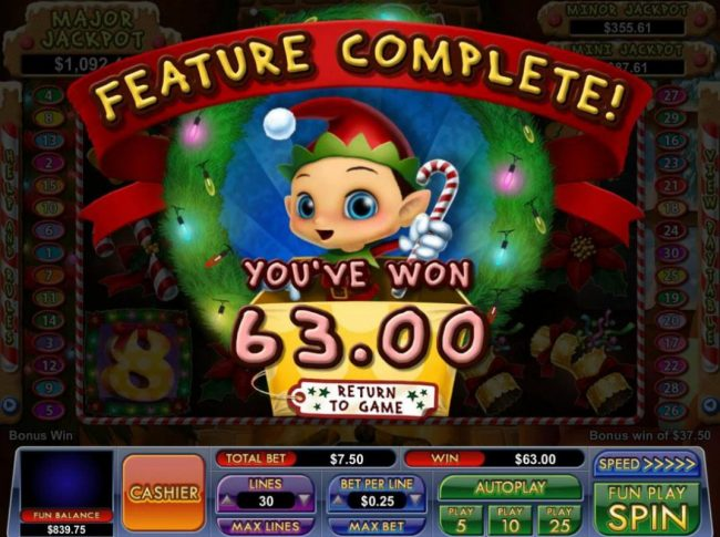 Free Games feature pays out a total of 63.00