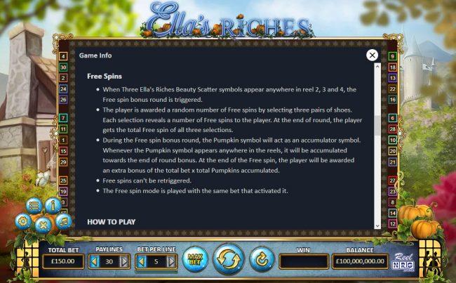 Ella's Riches :: Free Spins Bonus Game Rules