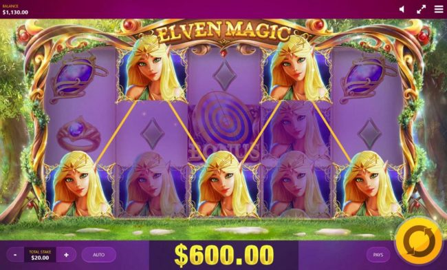 Viggoslots featuring the Video Slots Elven Magic with a maximum payout of $25,000