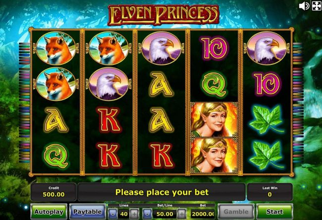 An elfs and fairytale forest themed main game board featuring five reels and 40 paylines with a progressive jackpot max payout