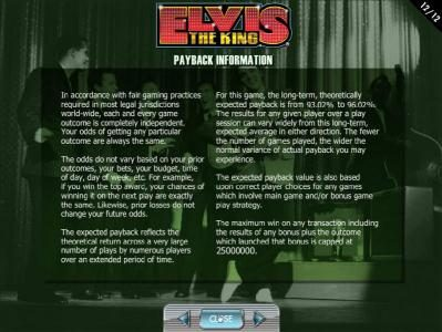 Elvis the King :: Payback Information