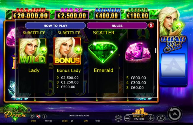 Casinia featuring the Video Slots Emerald Dream Quad Shot with a maximum payout of Jackpot