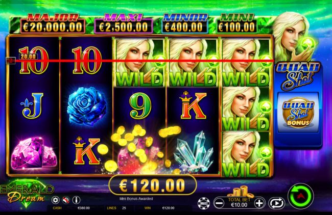 Red Queen featuring the Video Slots Emerald Dream Quad Shot with a maximum payout of Jackpot