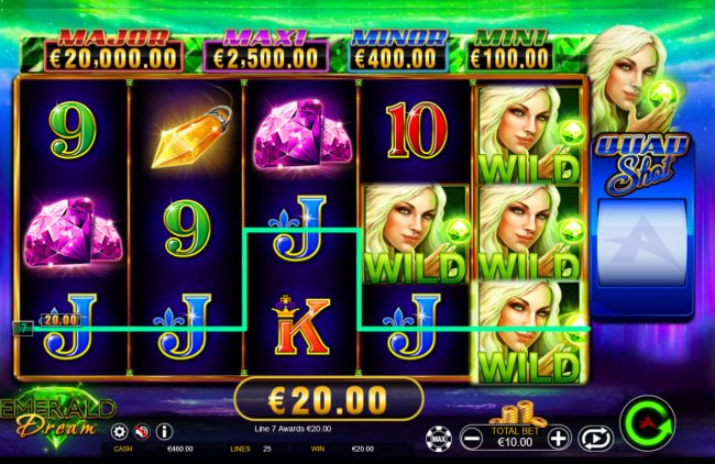 Play slots at Vera&John: Vera&John featuring the Video Slots Emerald Dream Quad Shot with a maximum payout of Jackpot